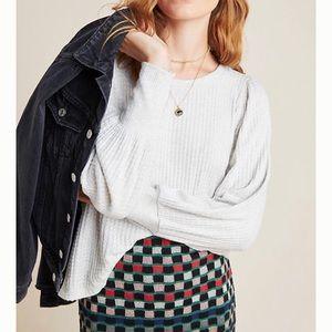 Anthropologie Velvet Waffle Knit Pullover Sweater